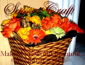 Waste Paper Basket full of Faux Flowers
